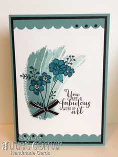 Using one of the new Stampin Up hostess sets, I Like You, and Work of Art.
