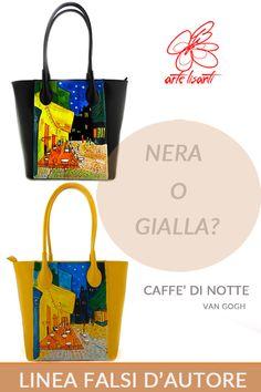 Borsa gialla e borsa nera dipinta a mano - Caffè di notte di Van Gogh
