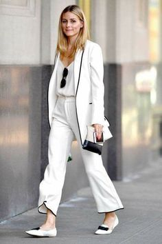 White suiting on Olivia Palermo street style