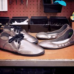 Design-Your-Own Shoe of the Week: Dash RunAmocs and Ballerines in Shiny Pewter! Handcrafted in Oregon.