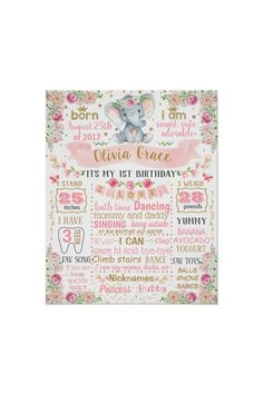 Ad: ******** You can change wording colors and sizes. Just click CUSTOMIZE and you will see a different settings. #elephant #floral #first #birthday #board #sign #poster #banner #milestone #1st