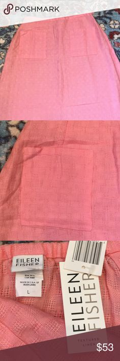 """NWT BEAUTIFUL TEXTURED  EILEEN FISHER LINEN SKIRT NWT EILEEN FISHER TEXTURED LINEN SKIRT- simple flare - BLOSSOM- two front pockets /side zipper with button close/elastic waistband in back only! Lovely waffle weave print in delicious peach color! Perfect for spring/ summer! 41"""" long/ in excellent condition! Eileen Fisher Skirts Maxi"""