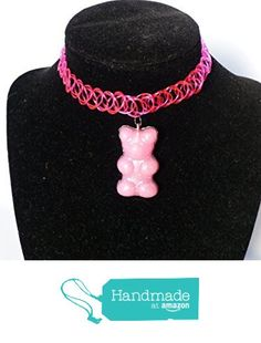 Big Pink Gummy Bear Tattoo Choker Necklace / EDM Rave Kandi from DonkeyandtheUnicorn http://www.amazon.com/dp/B01BK4VQWA/ref=hnd_sw_r_pi_awdo_dqR5wb1C59A4R #handmadeatamazon