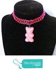 Big Pink Gummy Bear Tattoo Choker Necklace / EDM Rave Kandi from DonkeyandtheUnicorn http://www.amazon.com/dp/B01BK4VQWA/ref=hnd_sw_r_pi_awdo_dqR5wb1C59A4R #handmadeatamazon