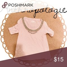 Anthropologie light pink quarter length sleeve top Such a fun top! The embellishments make this top so unique! Anthropologie Tops Tees - Long Sleeve