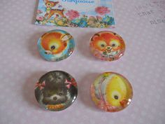 Kawaii Vintage Retro Baby Animals  Magnets Favor by Sweetturquoise, $7.00