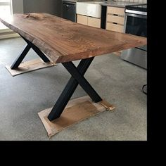 X Table legs (Set of Wood Slab Table, Wood Table Design, Rustic Wooden Table, Diy Farmhouse Table, Wood Tables, Portable Bar Table, Iron Table Legs, Natural Wood Table, Kitchen Table Bench