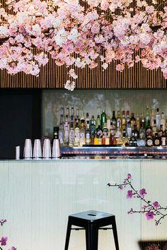 sake no hana - london - bar area with blossom and tiles Cafe Bar, Cafe Shop, Café Restaurant, Restaurant Design, Commercial Interior Design, Commercial Interiors, Cafe Design, Store Design, Cafe Interior