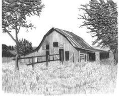 Old Horse Barn Pencil Sketch