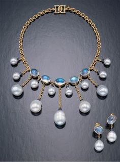 Assail  Jewelry: 18K Yellow Gold Necklace with South Sea Baroque Pearls and Moonstones.