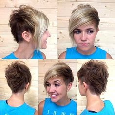 pixie with long bangs and side undercuts