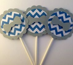 12 Blue and Gray Chevron Bow Tie Cupcake Topper, Baby Shower Decor