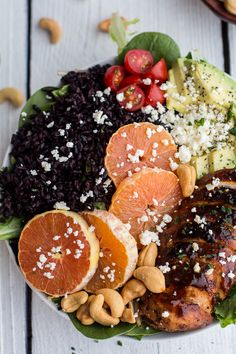 Black Rice Salad Bowls with Chipotle Orange Chicken, Cashews + Feta | halfbakedharvest.com