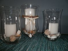 Nautical Wedding Hurricane Centerpiece Vases Beach by tiasdresses,