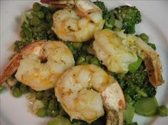 Lemony Sauteed Shrimp With Broccoli and Peas. Photo by Vino Girl