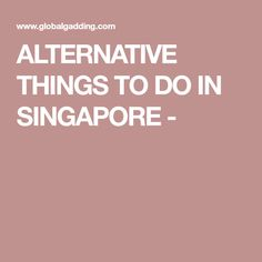 ALTERNATIVE THINGS TO DO IN SINGAPORE -