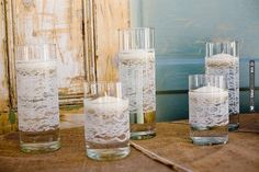 pretty lace candle holders | VIA #WEDDINGPINS.NET