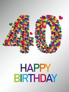 Colorful Happy 40th Birthday Card