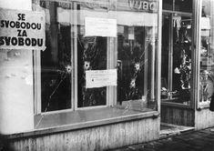 Následky střelby kolony sovětských vojáků v Prostějově, ke které došlo 25…