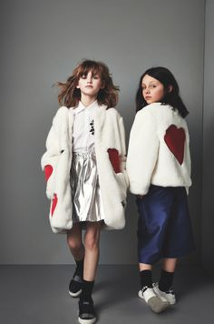 Heart decorated fun faux fur coats at MSGM fall 2915 kidswear