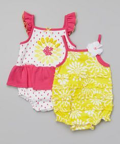 Look what I found on #zulily! Pink & Yellow Floral Bodysuit Set - Infant #zulilyfinds