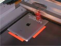 iPad laser engraving in a Trotec laser
