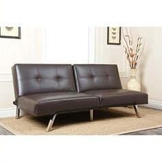 Abbyson Living Jakarta AD-PAB-161N5S-BRN Bonded Leather Convertible Sofa Bed with Chrome Finished Legs Adjustable Split Backs and High Density Foam Cushions in Dark
