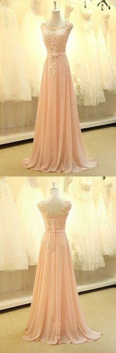 Gorgeous A-line Chiffon Floor-Length Appliques Long Evening Dress Prom Party Dresses