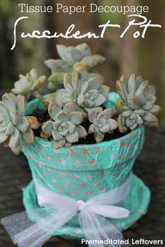 Tissue Paper Decoupage Flower Pot - A simple update to an terracotta pot that makes a fun project for kids and a sweet homemade gift for them to give.