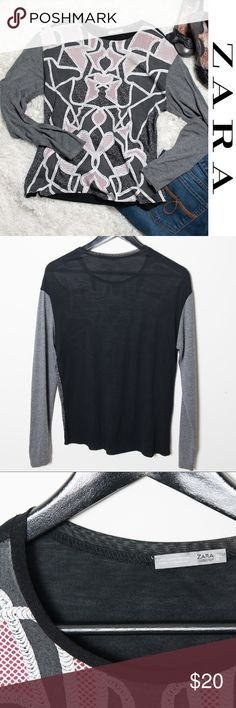 Zara WB Collection Grey Red Black Long Sleeve Lg Cute long sleeve top from Zara WB Collection. Lightweight grey front with white red and black pattern. Back features solid black. Grey sleeves. Zara Tops Tees - Long Sleeve