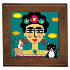 40% OFF Frida Kahlo With Rooster & Black Cat Necklace por nantulov