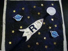 R is for Rocket that slides to the moon - with 20 stars to count