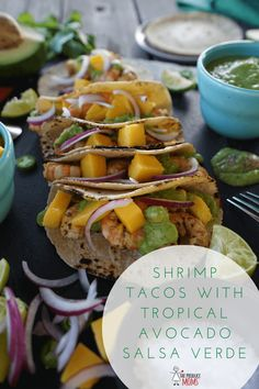 Some recipes are all about the sauce! Tropical Avocado Salsa Verde take shrimp tacos to the next level! Simply blend ingredients together. Seafood Recipes, Mexican Food Recipes, Vegetarian Recipes, Healthy Recipes, Vegetarian Protein, Healthy Family Meals, Healthy Cooking, Cooking Recipes, Family Recipes