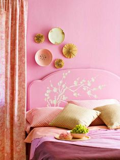 """This would be a room in my dream house. My daughter loves pink and I love the beautiful stenciling on the headboard. The technique makes the stenciling look like it is carved into the wood.  Simple technique but an awesome effect! This is definitely """"pretty in pink."""""""