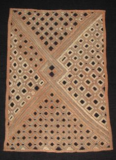 Africa | Raffia with natural dye textile from the Kuba people of Congo | Late 20th century
