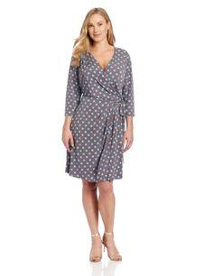 Fashion Bug Womens Plus Size 3/4 Sleeve V-neck Faux Wrap Dress www.fashionbug.us
