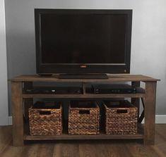 Diy pallet tv stand plans woodworking plans diy furniture etsy rack tv, p. Old Tv Stands, Pallet Tv Stands, Farmhouse Furniture, Pallet Furniture, Furniture Design, Furniture Plans, Vintage Furniture, Porch Furniture, Furniture Market