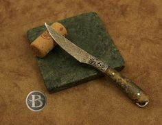 A great little trout knife for the avid fisherman. Stainless damascus blade, stainless bolster with Ray Cover engraving, unusual koa wood handle. $900 click http://www.broadwellstudios.com/available-art/ for more gift ideas for that hard to buy for person on your list!