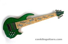 Eight String Bass Guitar | Custom 8 String Bass Quilted & Birdseye Maple Abalone Lizard Inlays 1