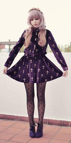 Velvet Crosses: velvet violet cross dress, black cross stockings, purple victorian style ankle booties - By Andrea Ladstätter - http://ninjacosmico.com/25-pastel-goth-looks-inspire/3/