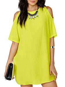 Crewneck Open Shoulder Lemon-Lime Chiffon Dress. Get awesome discounts up to 70% Off at Milanoo using Coupon & Promo Codes.