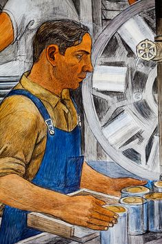 Cogs in the Machine, for more, please visit: http://www.painting-in-oil.com/artworks-Rivera-Diego.html