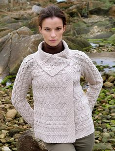 Single Button Cable Knit Cardigan - Parsnip
