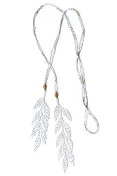 5e79317e9e8b Corda Leaf Lariat Necklace in Frost Light Gray silk with brass beads