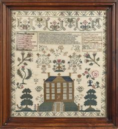 English or American silk on linen sampler, dated 1827, wrought by Jean Hamilton, with central verse above an open field of various floral stems and potted flowers, over a Georgian mansion with a green lawn flanked by stylized trees, all within a stylized floral border