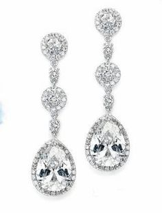 Cubic Zirconia Bridal Wedding Prom Earrings  - Deal of the Day! Visit affordableelegancebridal.com for fabulous savings on wedding accessories!