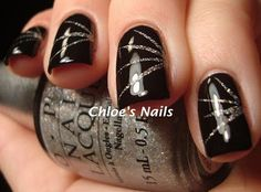 Trying to find the perfect black manicure -Black and Silver Nails Get Nails, Fancy Nails, Trendy Nails, How To Do Nails, Hair And Nails, Fabulous Nails, Gorgeous Nails, Black Silver Nails, Silver Glitter