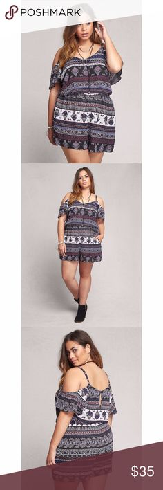 Printed romper This multi-color, multi-geo print romper gets the approval of any true boho babe. The gathered elastic waist and pockets let you take it easy, while the cold shoulder cutouts demand some sunshine. 100% polyester. New with tags. From torrid's sister store, lovesick. torrid Dresses