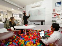 """""""""""We've been hacked. They found a loop hole."""" """"Gather the team. Let's meet in the Mario room. Fun Office Design, Office Interior Design, Office Interiors, Office Decor, Office Fun, Workspace Design, Office Lounge, Office Meeting, Meeting Rooms"""