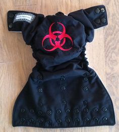 One size snap cloth diaper with adjustable elastic & gussets- biohazard.  From LittleBeastiesDiaper. $18.50